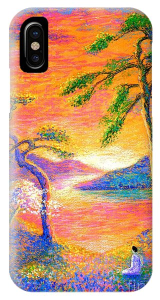 Meditative iPhone Case -  Buddha Meditation, All Things Bright And Beautiful by Jane Small