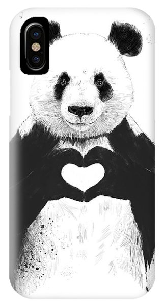 Black And White iPhone X Case - All You Need Is Love by Balazs Solti