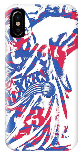 Tickets iPhone Case - Allen Iverson Philadelphia 76ers Pixel Art 14 by Joe Hamilton