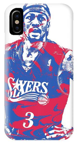 Tickets iPhone Case - Allen Iverson Philadelphia 76ers Pixel Art 15 by Joe Hamilton
