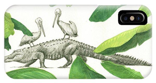 Crocodile iPhone Case - Alligator With Pelicans by Juan Bosco