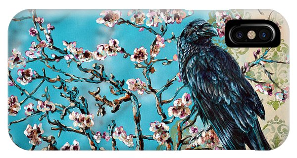 Almond Branch And Raven IPhone Case