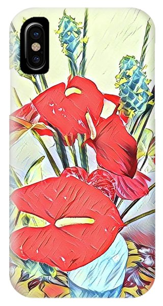 Aloha Bouquet Of The Day - Anthuriums And Green Ginger In Blue IPhone Case
