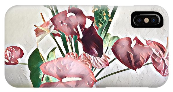 Aloha Bouquet Of The Day - Anthuriums And Green Ginger In Pale IPhone Case