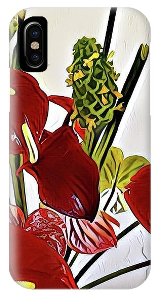 Aloha Bouquet Of The Day - Anthuriums In Darkl Red With Green Ginger - A Portion IPhone Case
