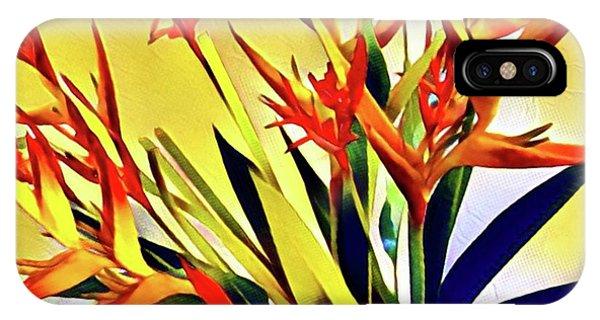Aloha Bouquet Of The Day - Halyconia Birds In Orange IPhone Case