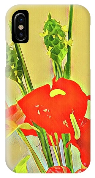 Aloha Bouquet Of The Day -- Red Anthuriums With Green Ginger, A Portion  IPhone Case