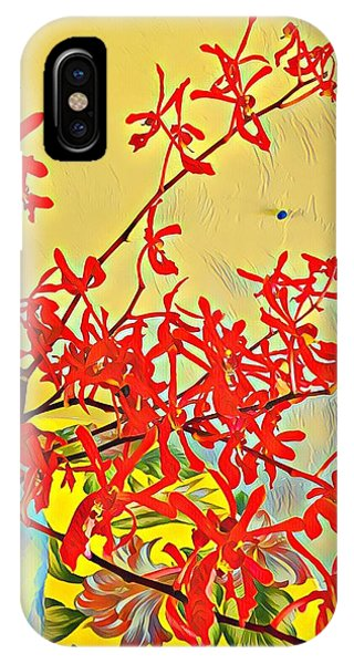 Aloha Bouquet Of The Day -- Red Orchids In Blue Vse IPhone Case
