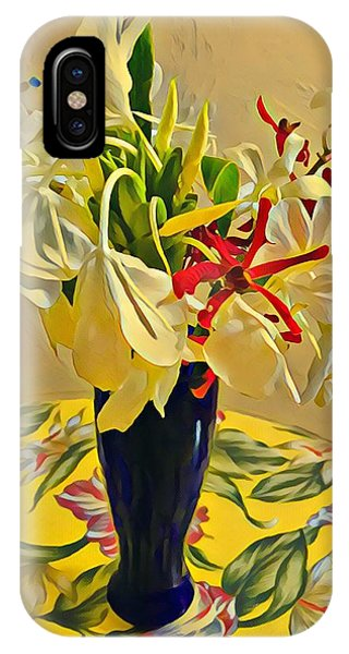 Aloha Bouquet Of The Day - White Gingert With Red Orchids - A New Hue IPhone Case