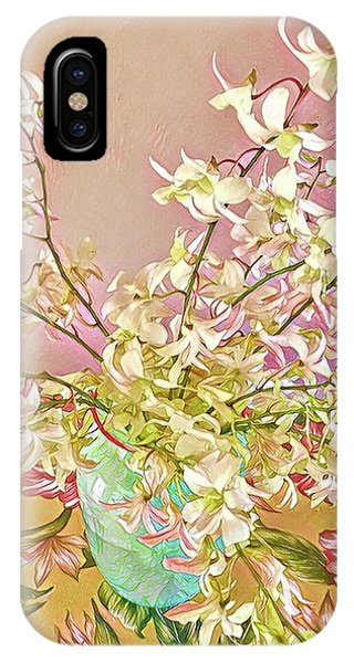 Aloha Bouquet Of The Day - White Orchids In Pink IPhone Case