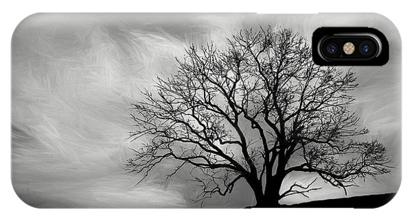 Grey Skies iPhone Case - Alone On A Hill In Black And White by Tom Mc Nemar