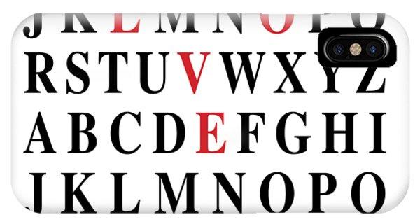 I Love You iPhone Case - Alphabet I Love U by Nancy Ingersoll