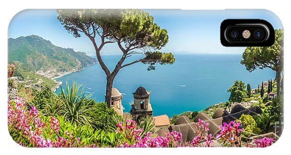 Amalfi Coast From Villa Rufolo Gardens In Ravello, Campania, Ita IPhone Case
