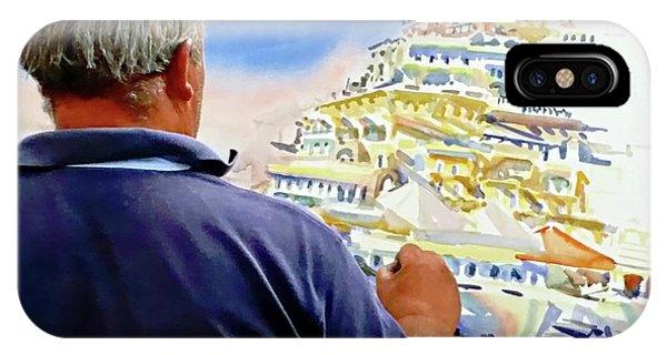 IPhone Case featuring the digital art Amalfi Coast Street Artist - Positano, Italy by Joseph Hendrix