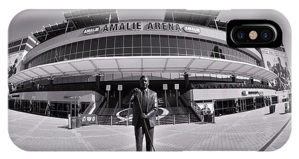 IPhone Case featuring the photograph Amalie Arena Black And White by Lisa Wooten