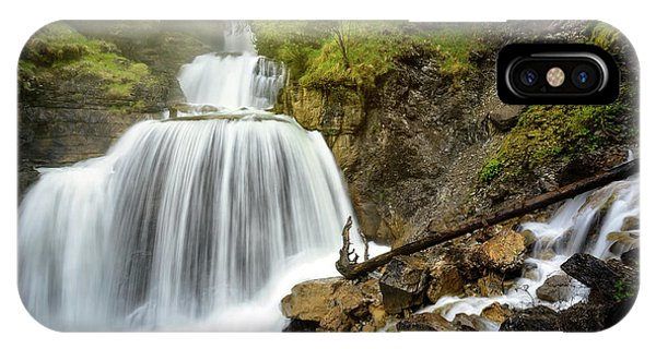 Amazing Mountain Waterfall Near Farchant Village At Garmisch Partenkirchen, Farchant, Bavaria, Germany. IPhone Case