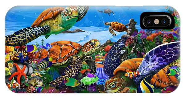 Reef iPhone Case - Amazing Undersea Turtles by MGL Meiklejohn Graphics Licensing