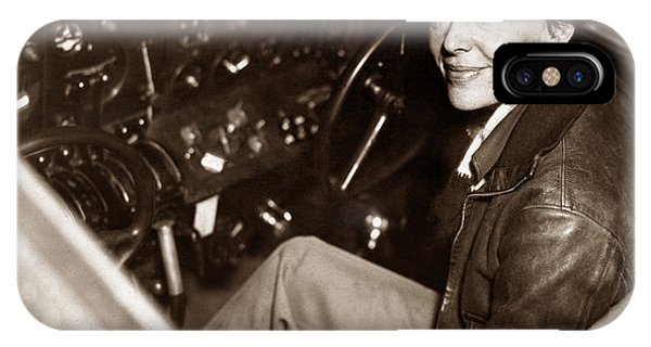Amelia Earhart Sitting In Airplane Cockpit IPhone Case