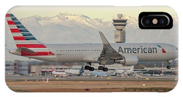 Alitalia iPhone Case - American Airline Boeing B767 Landing At Milano Malpensa Airport by Roberto Chiartano