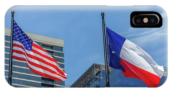 American And Texas Flag On Top Of The Pole IPhone Case