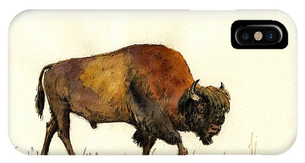 Bull Art iPhone Case - American Buffalo Watercolor by Juan  Bosco