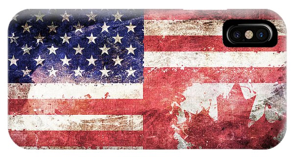 Stars And Stripes iPhone Case - American Canadian Tattered Flag by Az Jackson