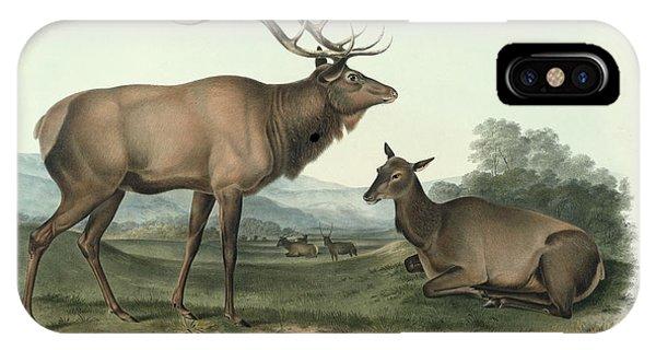 1851 iPhone X Case - American Elk by John James Audubon