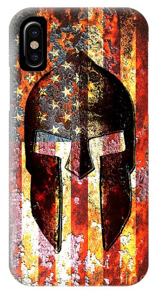 American Flag And Spartan Helmet On Rusted Metal Door - Molon Labe IPhone Case