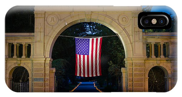 American Flag At Cemetery Gates - Mystic Ct IPhone Case