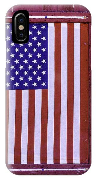 Gay Pride Flag iPhone Case - American Flag In Red Window by Garry Gay