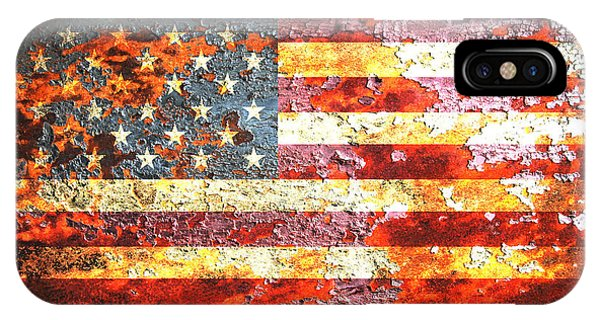 American Flag On Rusted Riveted Metal Door IPhone Case