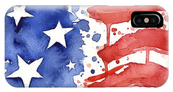 American iPhone Case - American Flag Watercolor Painting by Olga Shvartsur