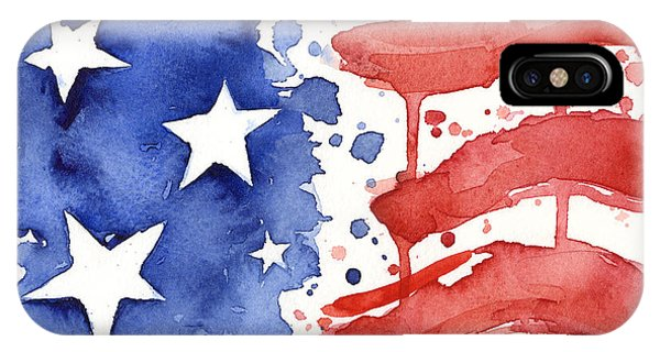 Great White Shark iPhone Case - American Flag Watercolor Painting by Olga Shvartsur