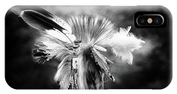 Native American Spirit Portrait iPhone Case - American Indian In Black And White by Tom Gari Gallery-Three-Photography