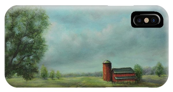 IPhone Case featuring the painting American Scene Red Barn  by Katalin Luczay