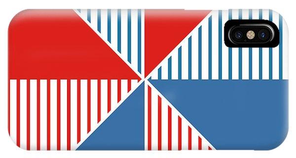 Blue And White iPhone Case - Americana Pinwheel by Linda Woods