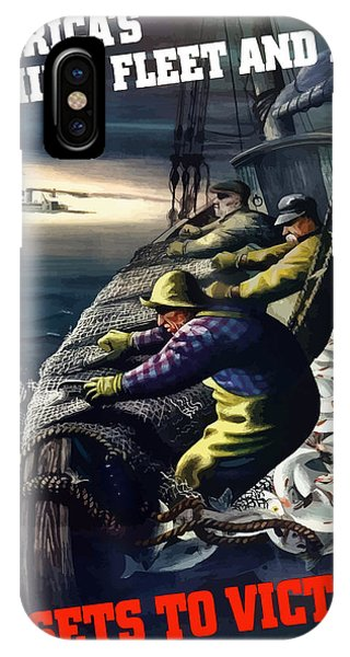 Fishing iPhone Case - America's Fishing Fleet And Men  by War Is Hell Store