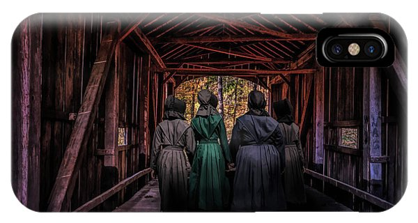Amish iPhone Case - Amish Girls In Covered Bridge by Tom Mc Nemar