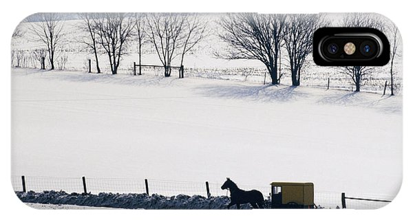 Amish Country iPhone Case - Amish Horse And Buggy In Snowy Landscape by Jeremy Woodhouse