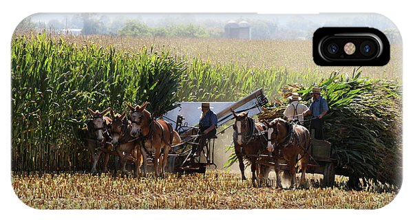 IPhone Case featuring the photograph Amish Men Harvesting Corn by Steven Frame