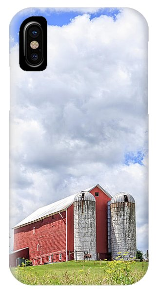 Amish iPhone Case - Amish Red Barn And Silos by Edward Fielding