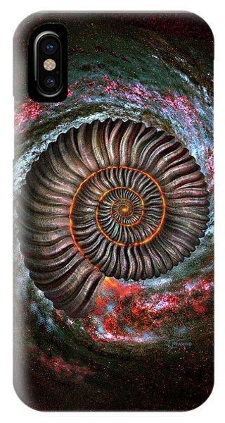 Fossil iPhone Case - Ammonite Galaxy by Jerry LoFaro