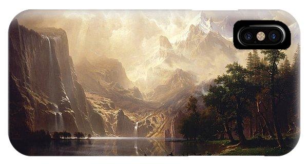 19th Century iPhone Case - Among The Sierra Nevada by Albert Bierstadt