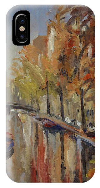 Amsterdam Autumn With Boat IPhone Case