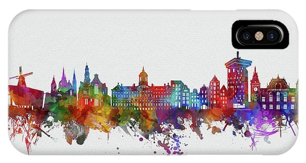 Holland iPhone Case - Amsterdam City Skyline Watercolor 2 by Bekim M