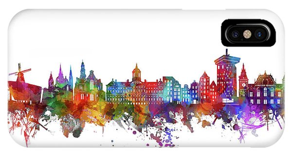 Holland iPhone Case - Amsterdam City Skyline Watercolor  by Bekim M