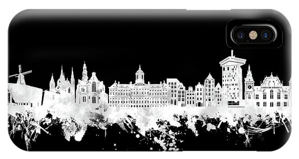 Holland iPhone Case - Amsterdam Skyline Black And White 2 by Bekim M