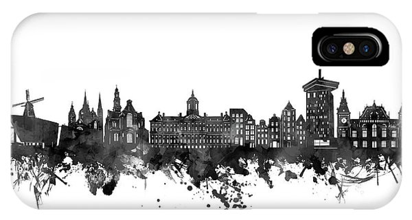 Holland iPhone Case - Amsterdam Skyline Black And White by Bekim M