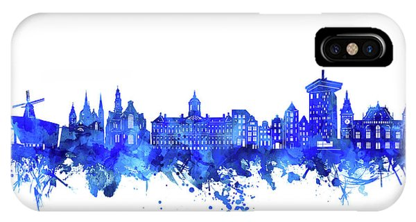 Holland iPhone Case - Amsterdam Skyline Watercolor Blue by Bekim M