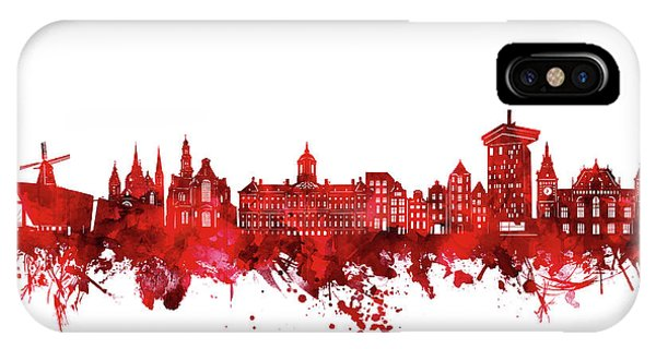Holland iPhone Case - Amsterdam Skyline Watercolor Red by Bekim M